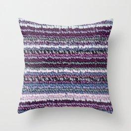 Carpet Stripes Eggplant Purple Steel Blue Throw Pillow