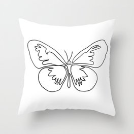 Butterfly One Line art in black and white Throw Pillow