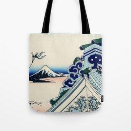 """Hokusai (1760-1849) """"Asakusa Hongan-ji temple in the Eastern capital [Edo]"""" Tote Bag"""