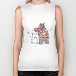 Bear with snowman Biker Tank