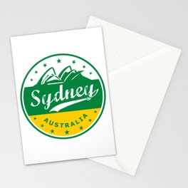 Sydney City, Australia, circle, green yellow Stationery Cards