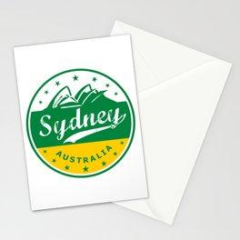 Sydney City, Australia, circle, green yellow Stationery Cards