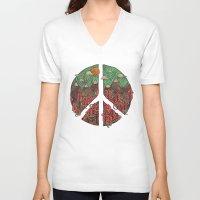landscape V-neck T-shirts featuring Peaceful Landscape by Hector Mansilla