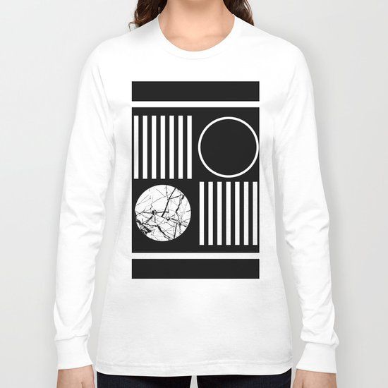 Retro Marble 2 - Abstract, geometric, black and white, bold, modern design Long Sleeve T-shirt
