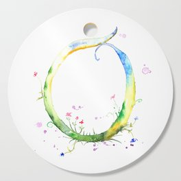 Letter O watercolor - Watercolor Monogram - Watercolor typography - Floral lettering Cutting Board