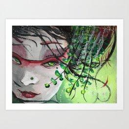 Geisha in Leaves: The Sentimental Concubine Art Print