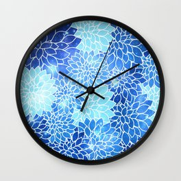 Space Dahlias Sky Blue Wall Clock