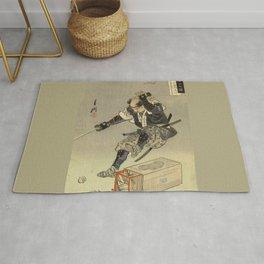 Samurai worrior ukiyoe print Rug