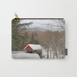Red covered bridge in snowy landscape Carry-All Pouch