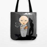pablo picasso Tote Bags featuring Kokeshi artist Pablo Picasso by Pendientera