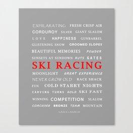 Ski Racing Light Grey Canvas Print