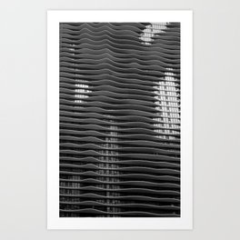Wavy/Aqua Building Photo, Chicago, Architecture, Black and White Art Print