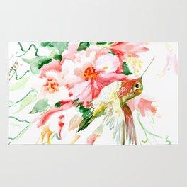 Hummingbird, Hawaiian Design, Hibiscus and Hummingbird Rug