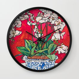 Orchid in Blue-and-white Bird Pot on Red after Matisse Wall Clock