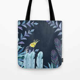 Cockatiel with tropical leaves and dark blue background Tote Bag