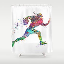 Football Player Sports Art Print Watercolor Print American Football Shower Curtain