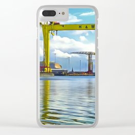 The Cranes of Belfast, Ireland. (Painting) Clear iPhone Case