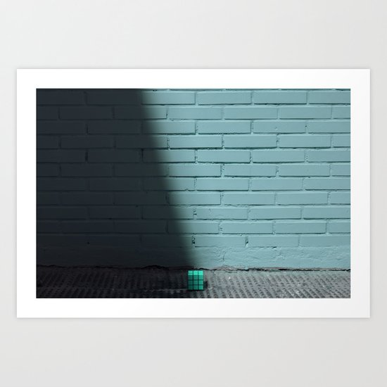 Blue and shady cube Art Print