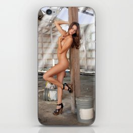 Beautiful Nude Brunette in an Abandoned Warehouse (11) iPhone Skin
