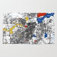 kansas city Area & Throw Rugs featuring Kansas city mondrian map by Mondrian Maps