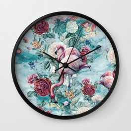 Flamingos II Wall Clock