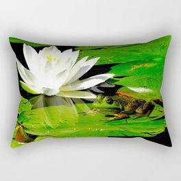 Frog with lily flower reflection Rectangular Pillow