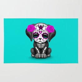 Cute Purple and Blue Day of the Dead Puppy Dog Rug