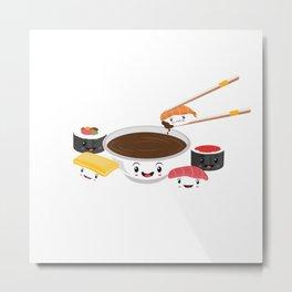 Cute Adorable Sushi Family Kawaii Japanese Sashimi Maki Nigiri Lover Gift Metal Print