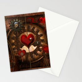 Steampunk, awesome steampunk heart Stationery Cards