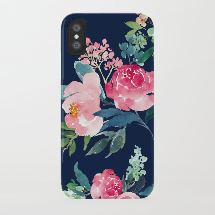 buy popular 5a492 efad1 Navy and Pink Watercolor Peony iPhone Case by entirelyeventfulday
