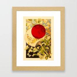 Japanese Ginkgo Hand Fan Vintage Illustration Framed Art Print