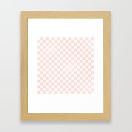 Pink Coral Checkers Framed Art Print