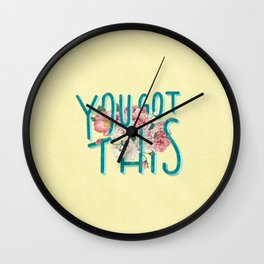 You Got This motivational lettering artwork with floral details, perfect gift for her! Wall Clock