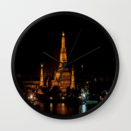 Wat Arun at Night, Bangkok, Thailand Wall Clock