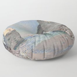 The Rock Needle and the Porte d'Aval by Claude Monet Floor Pillow