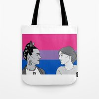 bisexual Tote Bags featuring Bisexual Pride by Grace Teaney Art
