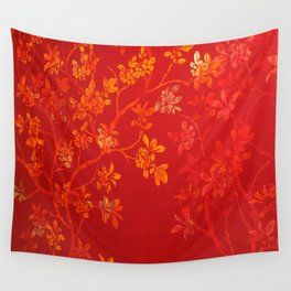 Gold Cherry Blossoms Wall Tapestry