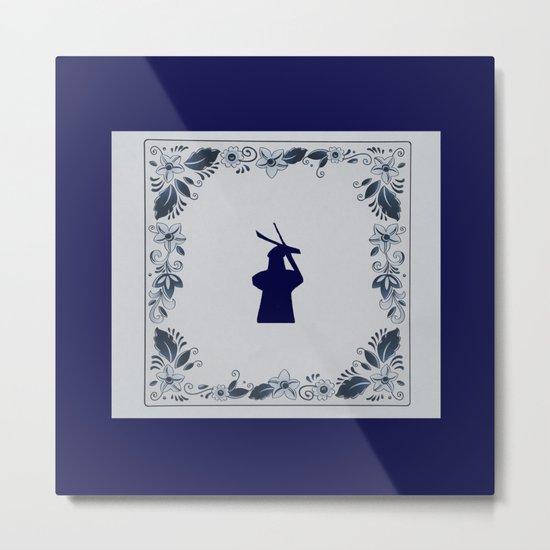 Delft blue tile windmill 'de Roos' in Delft Metal Print