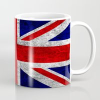 union jack Mugs featuring Union Jack Grunge Flag by Alice Gosling