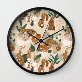 Serval cat abstract nature Wall Clock