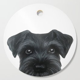 Black Schnauzer, Dog illustration original painting print Cutting Board