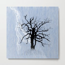 Gnarled Tree and Lightning Metal Print