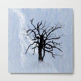 Gnarled Tree and Lightning Metal Print