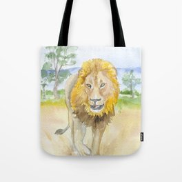 Lion in Africa Watercolor Tote Bag