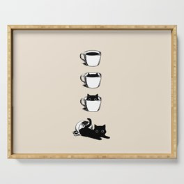 Morning Coffee, Cat in A Cup Serving Tray