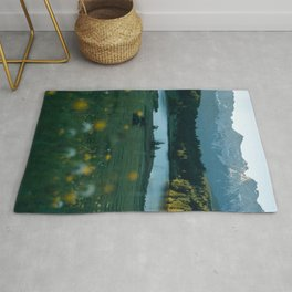 Sunrise at a mountain lake with forest - Landscape Photography Rug