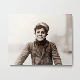 Young Bike Messenger - 1912 - Lewis Hine Metal Print