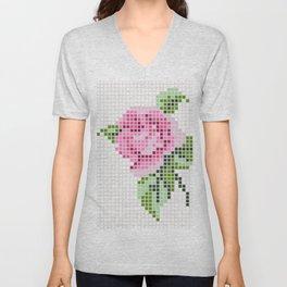 Shabby Chic Pink Rose Unisex V-Neck