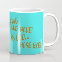cookie monster Mugs featuring Terrified Cookie by Artistic Dyslexia