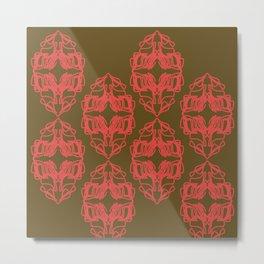 Luxury vint. Monograms red choco Metal Print